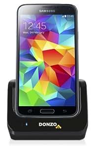 DONZO Standard USB Dockingstation für Samsung Galaxy S5 V I9600 & I9605 & SM G900 + Akkufach in der Ladestation + USB Datenkabel + Ladegerät Netzteil - schwarz