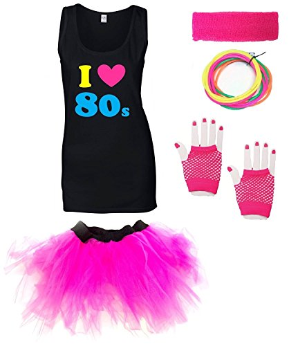 I Love the 80s Tank Top with Pink Tutu Skirt and Accessories - Sizes 8 to 16