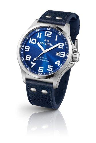 Tw Steel TW400 - Reloj con correa de cuero para hombre, color azul / gris