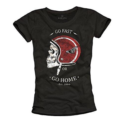 MAKAYA GO Fast OR GO Home - Camisetas de Mujer Casco Moto con Calavera - Negras L