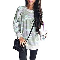 LanLan Camiseta Estampada de Camuflaje de Mujer Pullover, Camiseta de Manga Larga Ocasional de Invierno, Top
