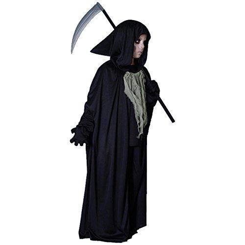 Sensenmann Tod + Sense Gr. 134-146 Halloween (Grim Reaper Kostüm)