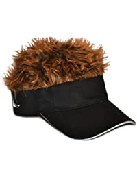 Flair Hair Novelty Adjustable Visor with Spiked Hair Joke/Gag Visor/Hat/Cap