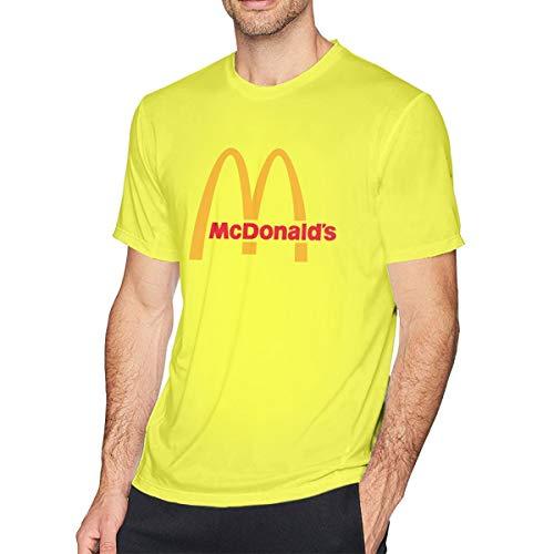 t McDonalds Logo T Shirt Casual Shirts for Men Big Boys Short-Sleeve Round Neck Baumwolle Sport Tops Gelb 4XL ()