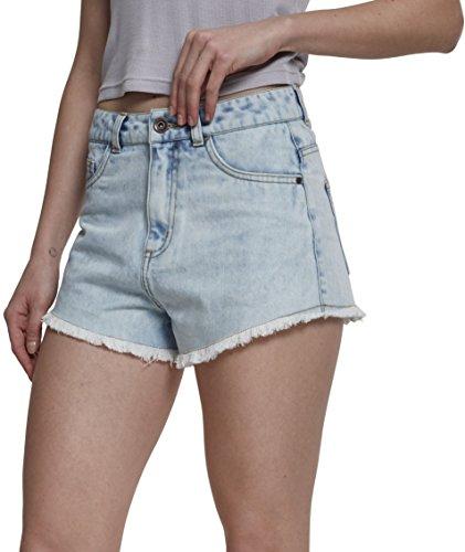 Urban Classics Damen Shorts Ladies Denim Hotpants Blau (Blue Bleached 01375) 40 (Herstellergröße: 29)