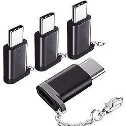Gratein Adaptateur USB C, Adaptateur Type C vers Micro USB, Convertisseur en Aluminium Haute-vitesse avec Porte-clé pour MacBook, ChromeBook Pixel, Nexus 5 x, Nexus 6P, Nokia N1, etc.(4 Pièces)