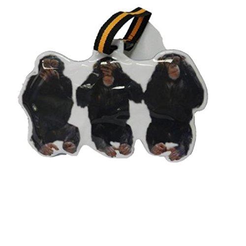 3 scimmie sagge (scimpanzé) Deposito Tag - personalizzate a forma di. Non vedere il male, non sentire alcun male, non parlare male. Ideale per un sacchetto di scuola - Male Scimmie Sagge