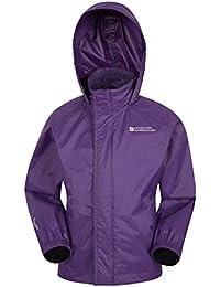 Mountain Warehouse Pakka Kids Waterproof Jacket - 2 Pockets Childrens Jacket, Breathable, Fleece Lined Hood Summer Coat, Water & Wind Resistant - Ideal for Hiking