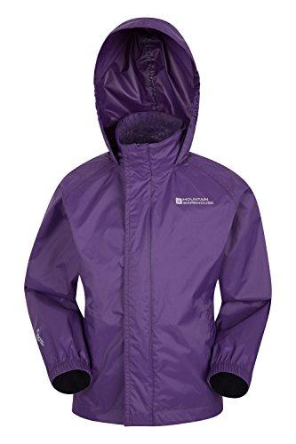Mountain Warehouse Pakka Kids Waterproof Jacket - 2 Pockets Childrens Jacket, Breathable, Water Repellent Summer Coat, Wind Resistant - Ideal for Hiking Dark Purple 11-12 Years
