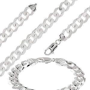 Avesano Herren Schmuck-Set aus 925 Sterling Silber, Panzerkette Länge 55cm und Armband Länge 21cm, Silberkette und Silberarmband, Männer Curb Cuban Gliederketten SET, 109001-055