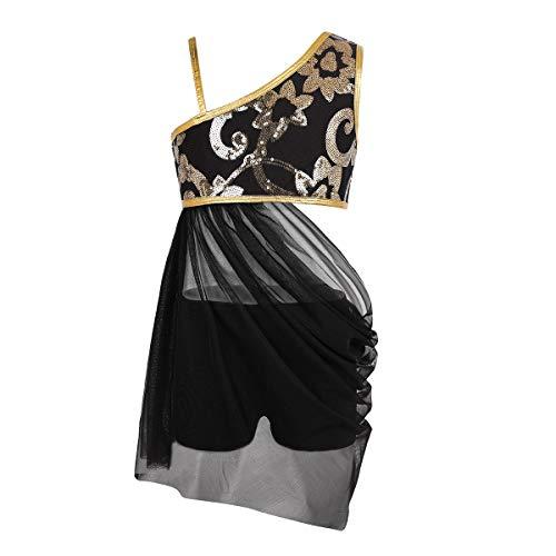 Kleid Kreative Schwarz Kostüm - Tiaobug Mädchen Kleider festlich Ballettkleid Latein Salsa Rumba Trachten Tango EIN-Schulter Tanz Kleid mit Tanzhose Pailetten Kostüm mit Glitzer Tanzkleidung Schwarz 164/14Jahre