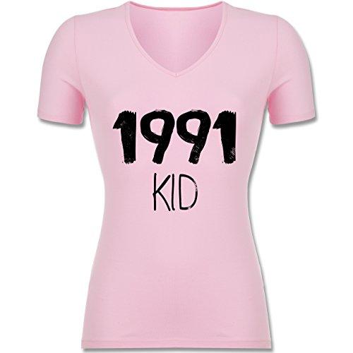Shirtracer Geburtstag - 1991 Kid - Tailliertes T-Shirt mit V-Ausschnitt für Frauen Rosa