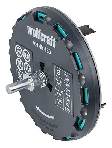 wolfcraft Lochsäge 5978000 - Verstellbarer Universal-Kreisschneider für den Akkuschrauber & die Bohrmaschine - Für Gipsplatten & Holz - Stufenlos einstellbar von ø 45-130mm