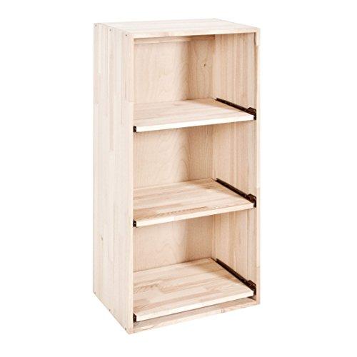 Weinregal / Flaschenregal System BOX mit Auszügen für 3 Kisten, Holz Kiefer natur, stabelpar / erweiterbar - H 90 x B 45 x T 30 cm System Storage Box