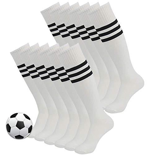 3street Unisex Triple Stripe Kniehohe über Kalb Athletic Fußball Tube Socks 2-12Paar, Damen Herren Mädchen Jungen, 04#12 Pairs White+Black Stripe, Einheitsgröße (Pair Mädchen Kostüm Für Jungen)
