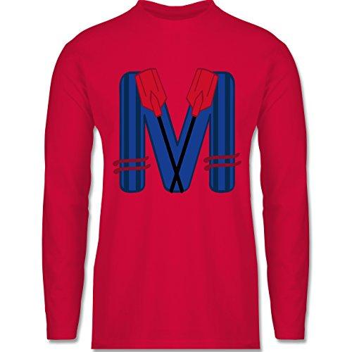 Shirtracer Anfangsbuchstaben - M Schifffahrt - Herren Langarmshirt Rot
