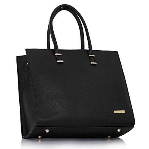Damen Handtasche Schultertasche Tasche Large Umhängetasche Entwerfer Shopper Henkeltasche, Neu (Schwarz) - 2