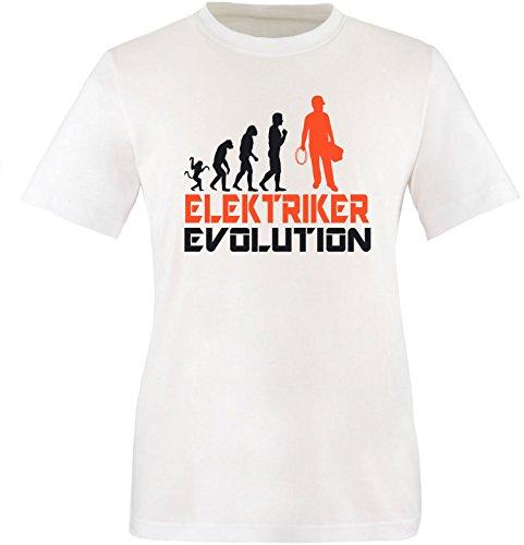 EZYshirt® Elektriker Evolution Herren Rundhals T-Shirt Weiss/Schwarz/Orange