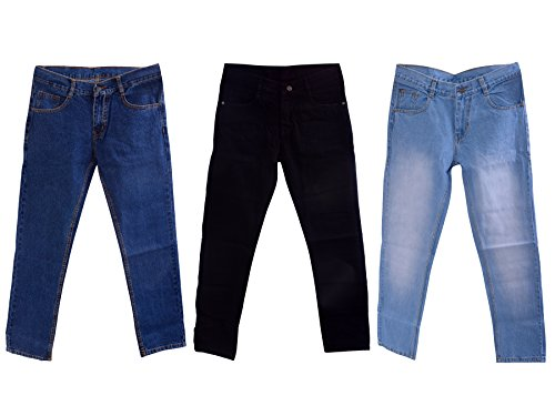 Karya Men's Denim Regular Fit Jeans (603BLACK-604LTBLUE-603DKBLUE-COMBO-32_32_Black & Light Blue & Dark...