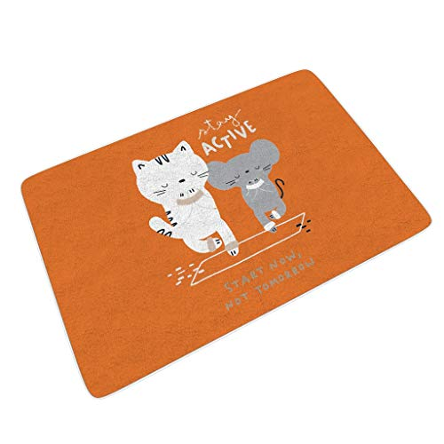 Zhenxinganghu Tappetini per Ingresso Interno o Esterno in Gomma Antiscivolo e Resistente alla Polvere Cartoon Mouse, Bianco, 45x75 cm