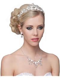 SEXYHER Herrliches Kristall-Diamant-Hochzeits-Halskette Accessoires-Kit - SH-HM-G0556