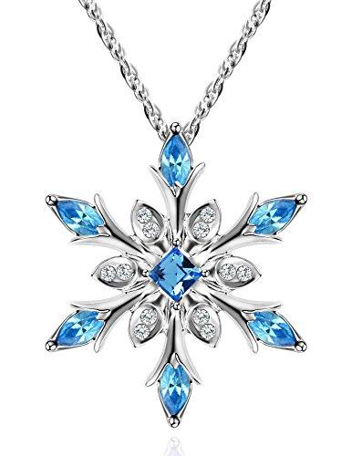 Kette Damen Doppel Liebe Herzen Halskette mit Kristalle von Swarovski, Du wirst Immer in Meinem Herzen (Sky blau)