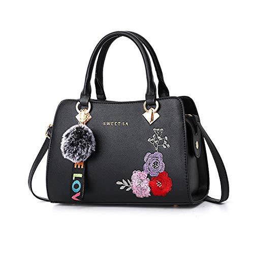 Fyyzg Damenhandtasche Schultertasche European und American Big Bag Fashion Handtasche Damenhandtasche - Pure Black