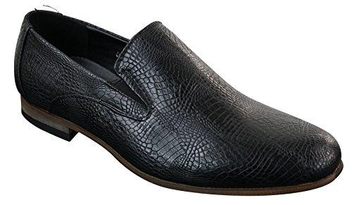 Mocassins homme sans lacets cuir PU noir effet serpent crocodile style tendance décontracté Noir