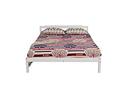 YAKOE Solid Pine Bed Frame Flat Pack, Wood, White, Double