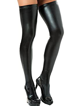 Queenshiny® de las mujeres mirada mojada medias hasta el muslo