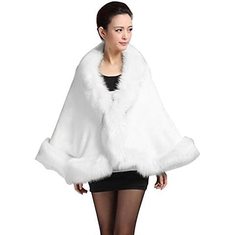 Koly Imitación Collar Poncho estola capa abrigo suéter con capucha abrigo mujeres de