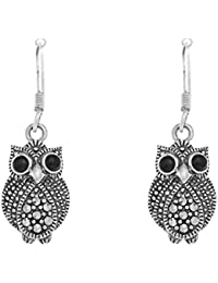Ornami Sterling Silver Marcasite and Agate Owl Earring Drops