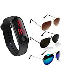 Sheomy Black Color Touch LED Screen Digital Silicone Rubber Band Unisex Wrist Watch and Sunglasses Combo
