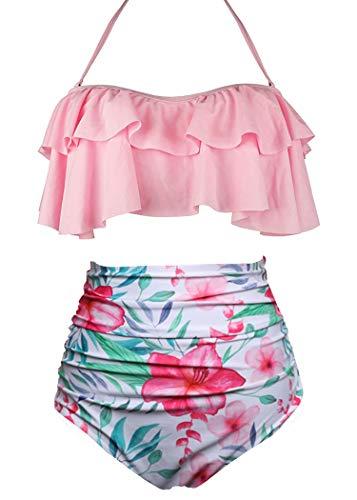AOQUSSQOA Damen Badeanzug Rüschen Hals Hängen Bikini Sets Zweiteilige Bademode mit Hoher Taille Strandkleidung (EU 38-40 (M),Rosa)