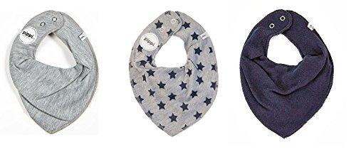 fifi-lot-de-3-baby-chiffon-triangle-bandana-bavoir-uni-gris-gris-avec-etoiles-bleu-marine-uni-bleu-m