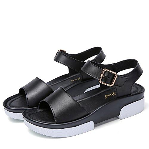 Dame,sommer,dicken sohlen sandalen/mittlere ferse freizeitschuhe-B Fußlänge=23.3CM(9.2Inch) (Ferse Denim Mule)