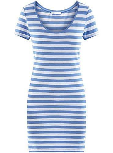 oodji Ultra Damen Enges Jersey-Kleid Blau (8010S)