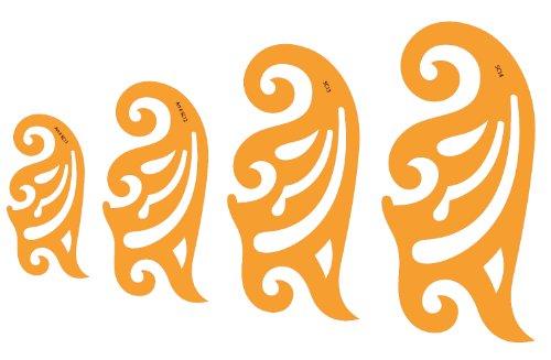 Jeu de 4 Pistolets Courbes en Plastique 1.2mm Règle Pistolet Perroquet Burmester Courbe de Bézier Française Modèle Trace Gabarit Symboles - Dessin Technique Traçage Illustration Couture Coques de Bateaux Tailleur Vêtement