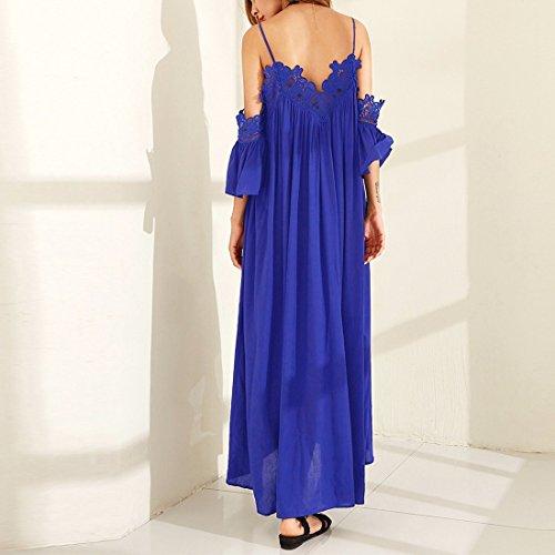 QIYUN.Z Frauen Spitze Häkelarbeit Kaltes Schulter Isolationsschlauchbügel Backless Halfter Ansatzkleid Blau