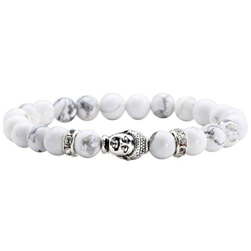 JSDDE Lava Armband,Zen-Buddhismus Armreif Energietherapie Silber Buddha-Kopf Weiß Türkis Healing Wurzelchakra Yoga Armband,8mm