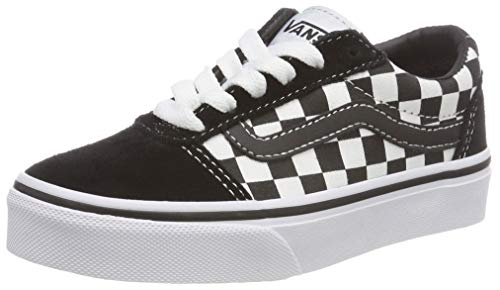 Vans Unisex-Kinder Ward Suede/Canvas Sneaker, Schwarz ((Checker) Black/True White Pvj), 36 EU (Weiße Vans Authentic Skate Schuh)