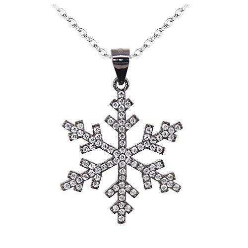 BiBeary Damen elegant 925 Sterling Silber Zirkonia CZ Schneeflocke Winter Kette Pendant Halskette schwarz-Ton