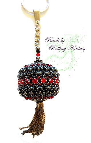 Schlüsselanhänger Taschenanhänger mit Swarovski-Steinen in Schwarz und Rot - ein absolut exklusives Geschenk - reine Handarbeit (Absolute Reine)