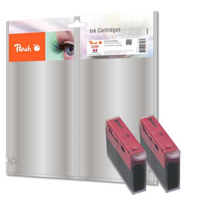 Peach Doppelpack Tintenpatronen magenta kompatibel zu Canon, Xerox, Apple BJI-201 m