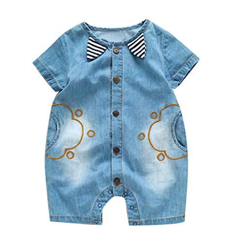inkind Baby Kinder Demin Cowboy Kurzarm Gestreiften Strampler Overall Outfits Overall Roben Strampler Baby Babykleidung Orange Jungen Mädchen Jeans Unisex Spielanzug(0-24M) ()