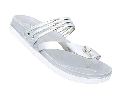 Damen Sandalen Schuhe Strandschuhe Sommerschuhe Zehentrenner Silber