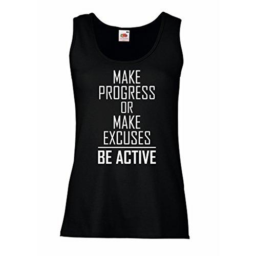 """lepni.me Damen Tank-Top """"Be Active - leben ohne Ausreden"""" - Motivation - inspirierend tägliche Angebote für Erfolg (Large Schwarz Weiß)"""