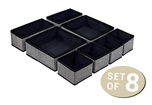 8er Set Aufbewahrungsboxen - Faltbare und vielseitig einsetzbare Stoff-Boxen - Praktische Schubladen-Ordnungsbox Kleiderschrank-Organizer - schwarz/grau - Socken, Schmuck, Kosmetik, Windeln, Spielzeug -