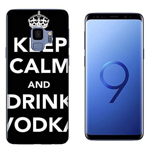 Hülle Galaxy S9 Case Samsung Galaxy S9 Lustige Sätze Haltet Kalm und trinkt Wodka/Cover Druck auch an den Seiten/Anti-Rutsch Anti-Rutsch Anti-Scratch Schock-resistenten Schutz Schutzulle Starre