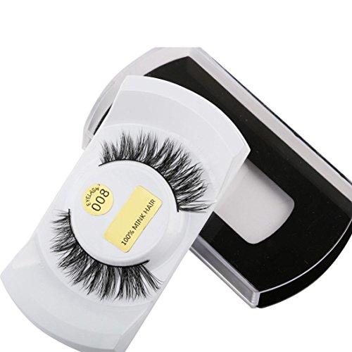 Moonuy Soie faux Cils de haute qualité 3D Lashes Vison Naturel Épais Faux Cils Faux Cils Extensions de Maquillage Extensions Maquillage de fête Croix épaisse (G)